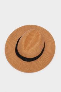 Textured Straw Hat With Contrast Band